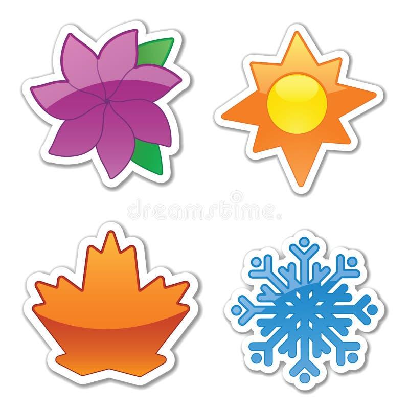 De glanzende Stickers van het Weer vector illustratie
