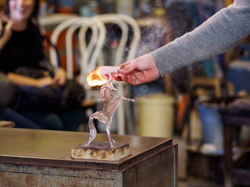 De glasfabriek van Venetië stock foto's