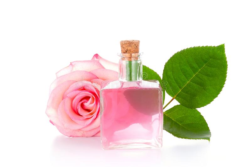 De glasfles met transparante roze vloeistof, nam en groen blad toe stock foto