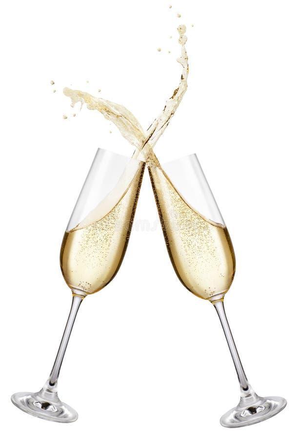 De glazen die van Champagne toost maken stock foto