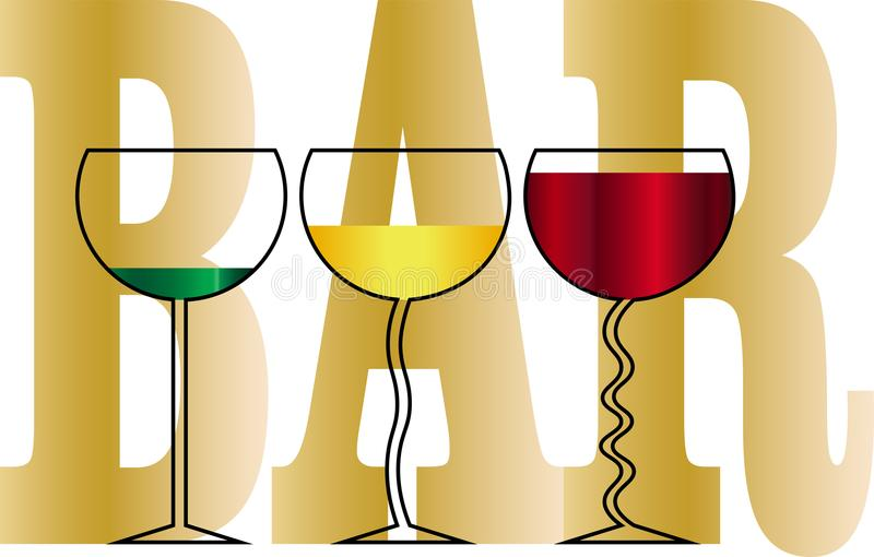 De glazen met dranken op de achtergrond van de inschrijving versperren ontwerp bedrijfsembleem vector illustratie