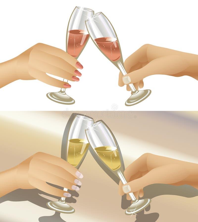 De Glazen van Champagne van Clinking vector illustratie