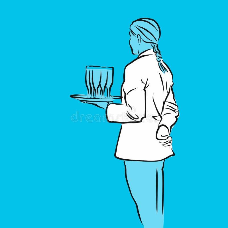 De glazen van de de dienstholding met champagne, Blauwe Reeks stock illustratie
