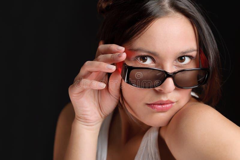 De glazen van de ontwerper - sportieve trendy vrouwenmanier stock afbeelding
