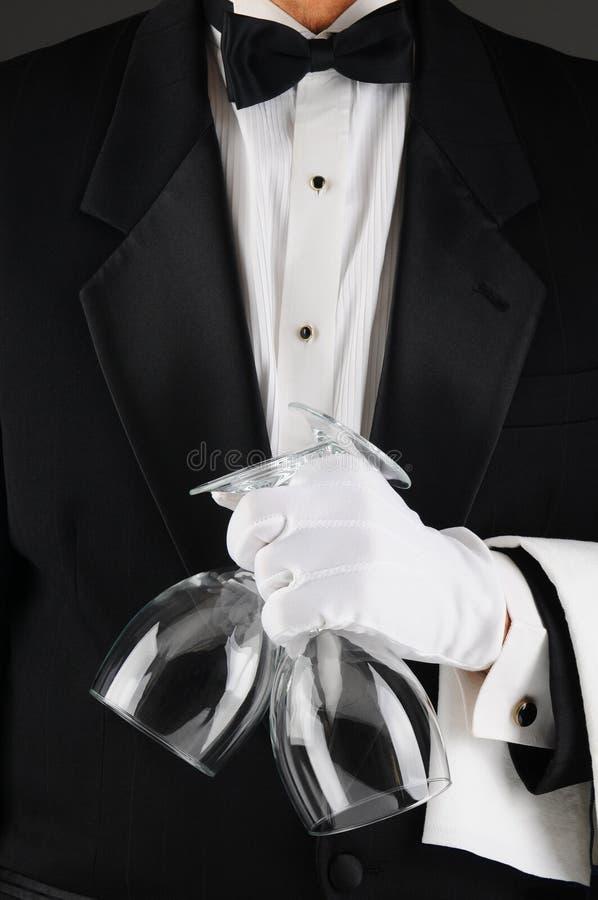 De Glazen van de Wijn van de Holding van de kelner royalty-vrije stock afbeeldingen