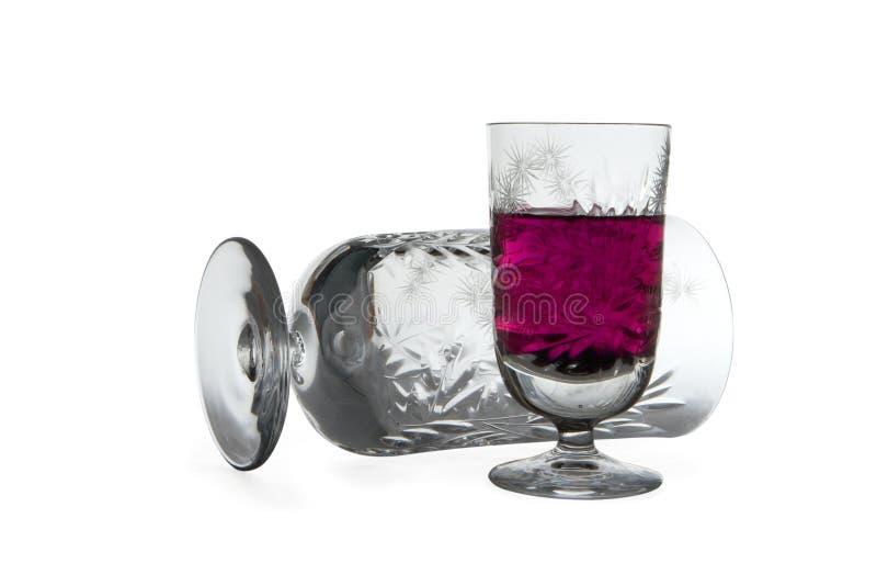 De glazen van de wijnstok stock afbeeldingen