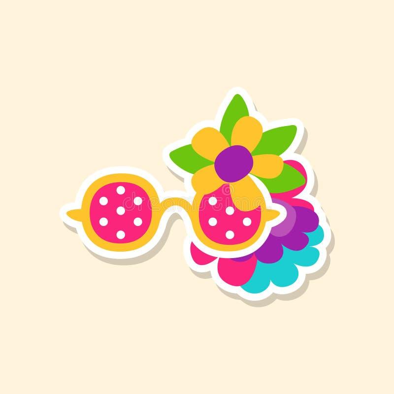 De glazen van de hippiezon en bloemen, leuke sticker in heldere kleuren, de vectorillustratie van het manierflard, beeldverhaalst vector illustratie