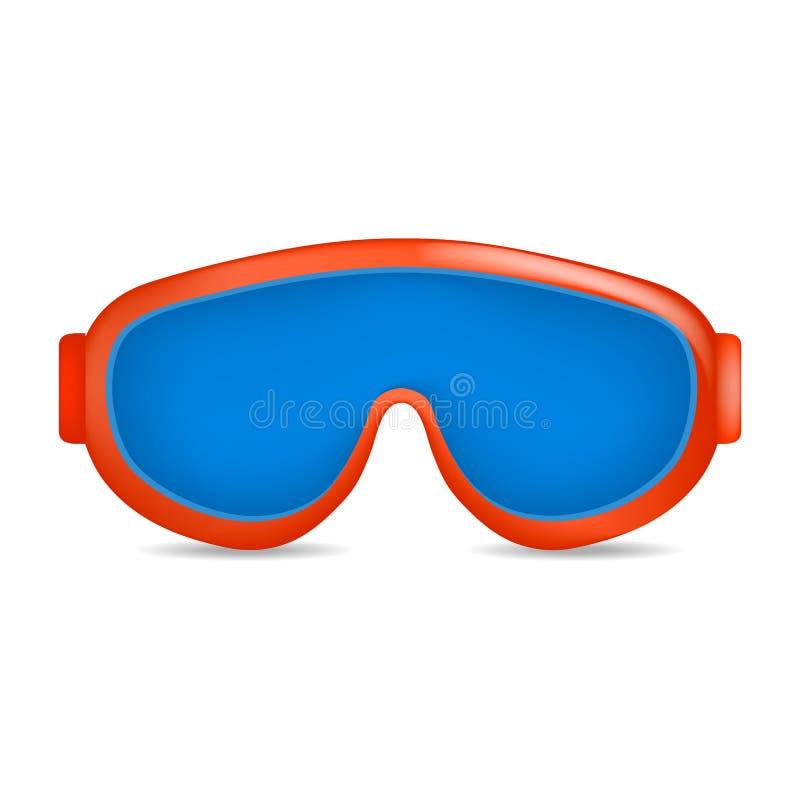 De glazenmodel van de ski blauw kleur, realistische stijl stock illustratie