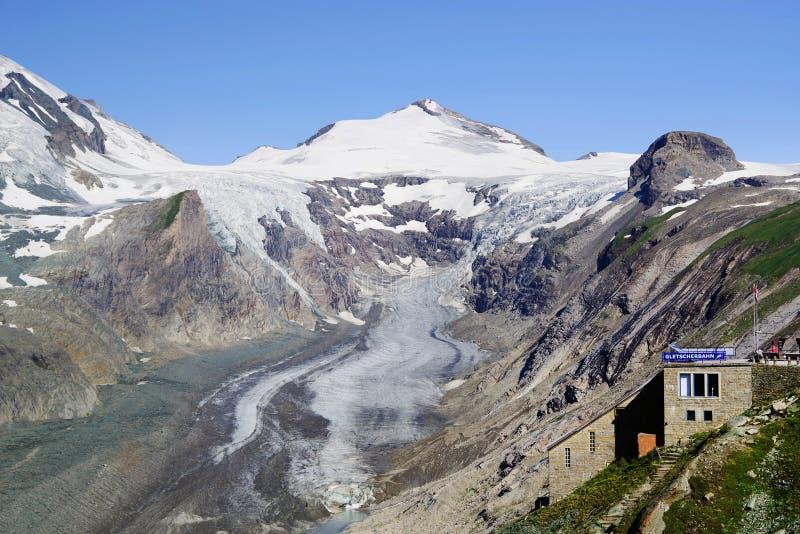 De gletsjer Pasterze en de Johannisberg-piek stock afbeelding