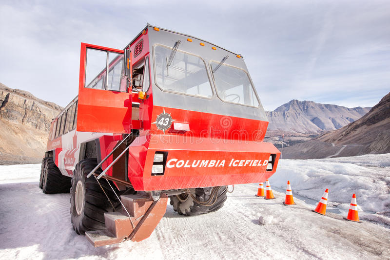 De gletsjer van Athabasca, de bus van de Ontdekkingsreiziger van het Ijs stock foto's