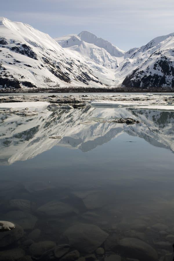 De Gletsjer van Byron, Alaska, in de lente stock afbeeldingen