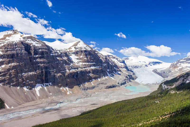 De Gletsjervallei van Saskatchewan, Jasper National Park, Canadese Rotsachtige Bergen royalty-vrije stock foto