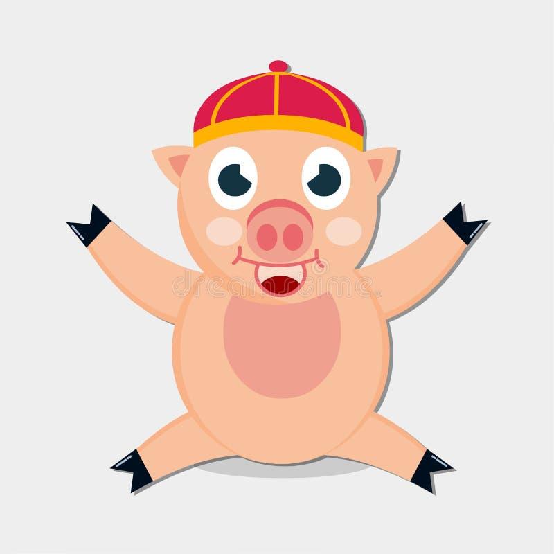 De glimlach die van de varkenszitting Chinese hoeden vectorillustratie dragen vector illustratie
