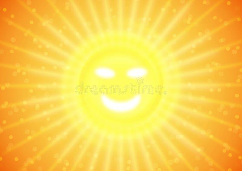 De glimlach van de zomer op zon stock illustratie