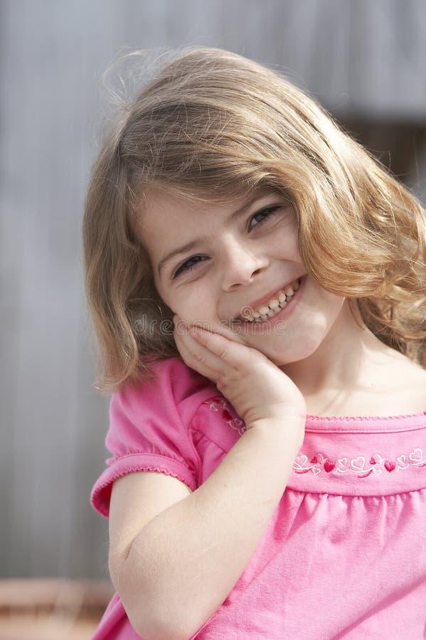 De glimlach van het kind stock foto