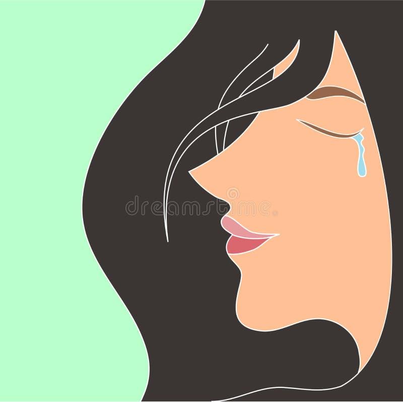 de glimlach van de vrouwenschreeuw - het meisje van de zieluitdrukking royalty-vrije illustratie