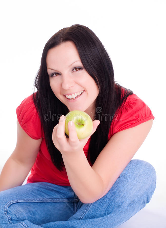 Download De Glimlachende Appel Van De Vrouwenholding Stock Foto - Afbeelding bestaande uit schoonheid, smiling: 10777244