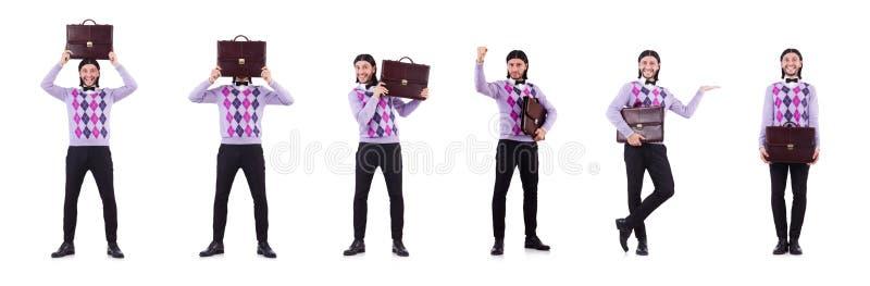 De glimlachende die man met aktentas op wit wordt geïsoleerd stock afbeelding