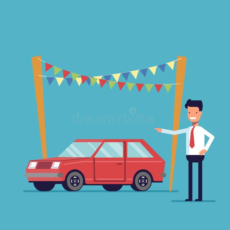 De glimlachende handelaar biedt aan om de auto te kopen Verkoop van nieuwe en tweedehandse voertuigen Gelukkige mens in een overh stock illustratie