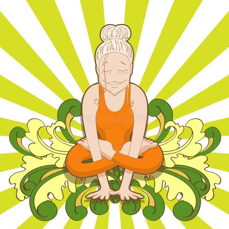 De glimlachende hipster vrouw in yoga stelt kukkutasana vector illustratie