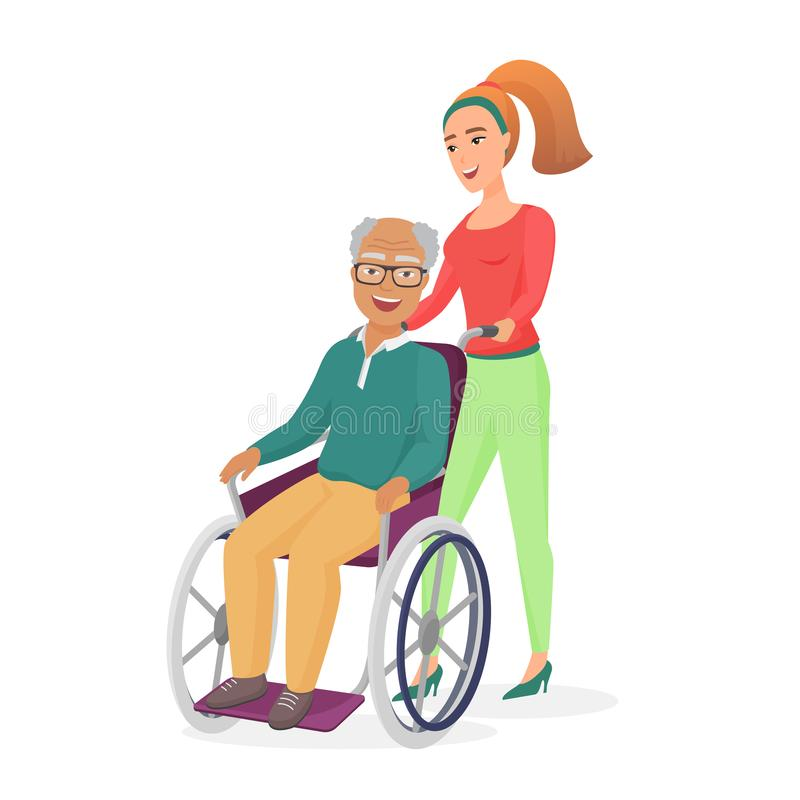 De glimlachende jonge gezonde vrouwelijke maatschappelijk werker of de dochter, nemen binnen zorg op bejaarde gehandicapte positi royalty-vrije illustratie