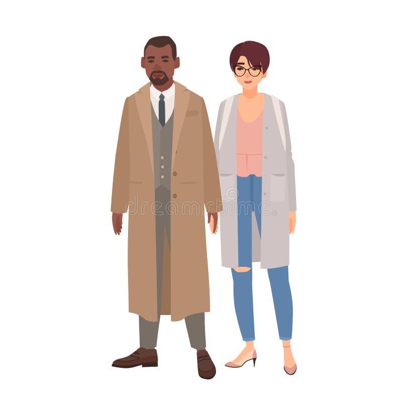 De glimlachende man en de vrouw kleedden zich in lagen die zich verenigen Leuk gelukkig multiraciaal geïsoleerd paar of romantisc royalty-vrije illustratie