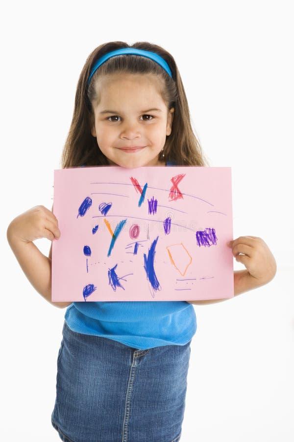 De glimlachende Spaanse tekening van de meisjesholding. royalty-vrije stock foto