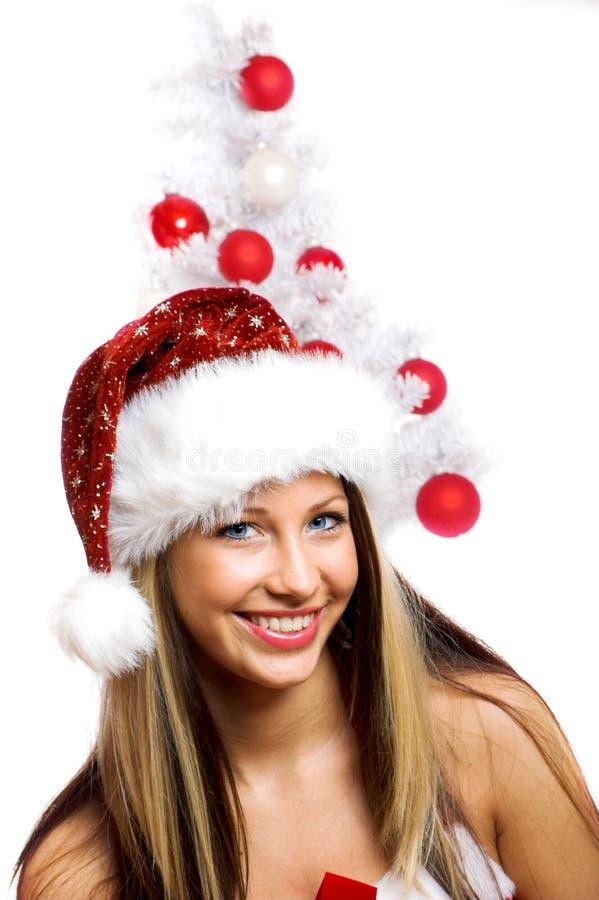 De glimlachende vrouw van Kerstmis stock foto's