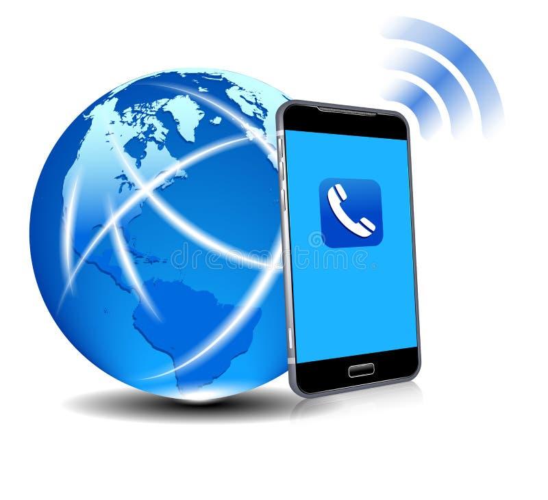 De globale Cel van de Verbindingstelefoon Slimme Mobiele Telefoon App royalty-vrije illustratie