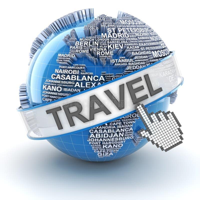 De globale 3d reis, geeft terug vector illustratie