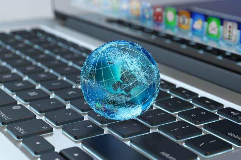 De globale mededeling van het computernetwerk, Internet-zaken en marketing concept vector illustratie
