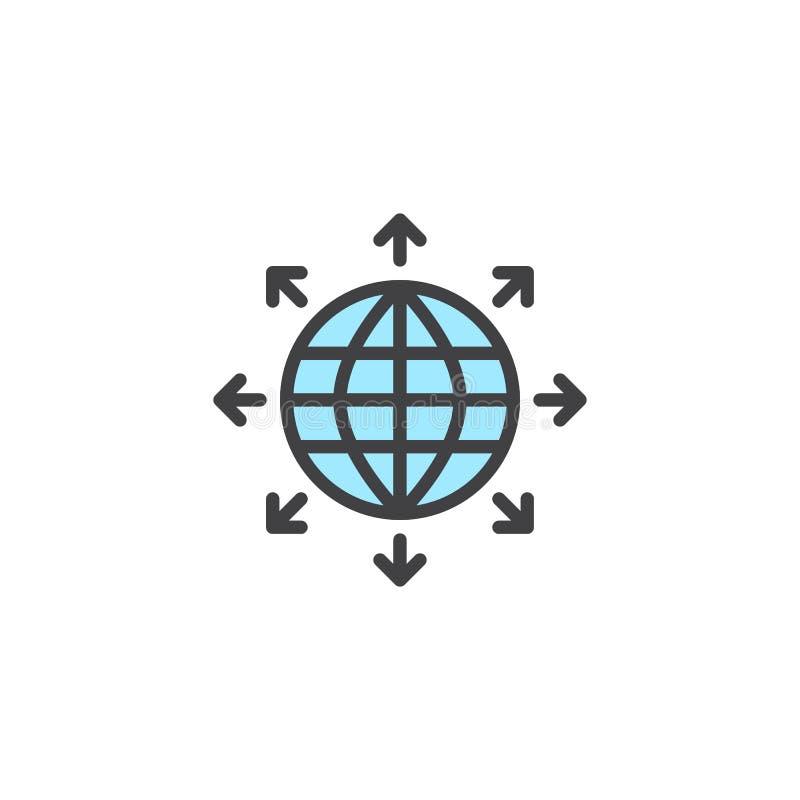 De globale mededeling vulde overzichtspictogram vector illustratie