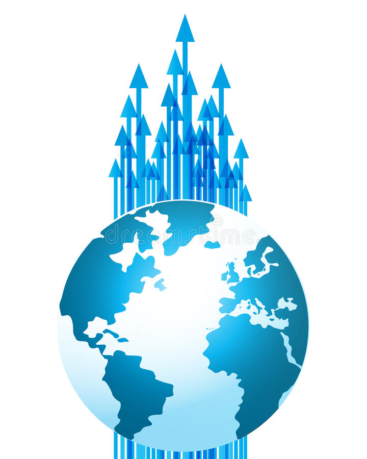 De globale pijlen van de bedrijfstechnologievooruitgang stock illustratie