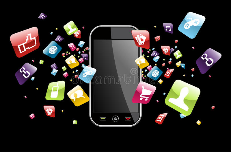 De globale plons van smartphone apps pictogrammen vector illustratie