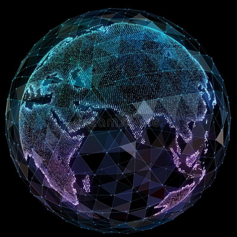 De globale technologieën van netwerkinternet Digitale wereldkaart royalty-vrije illustratie