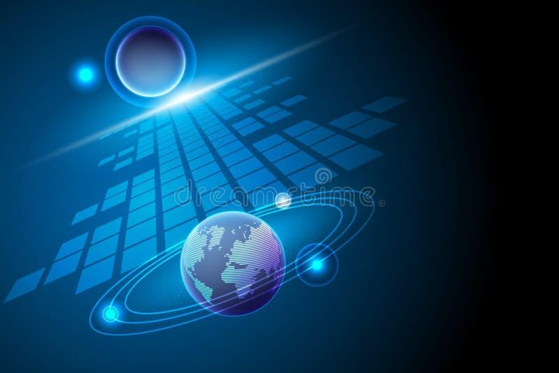 De globale transformatie van voorzien van een netwerkgegevens en melkweg, Digitale communi royalty-vrije illustratie