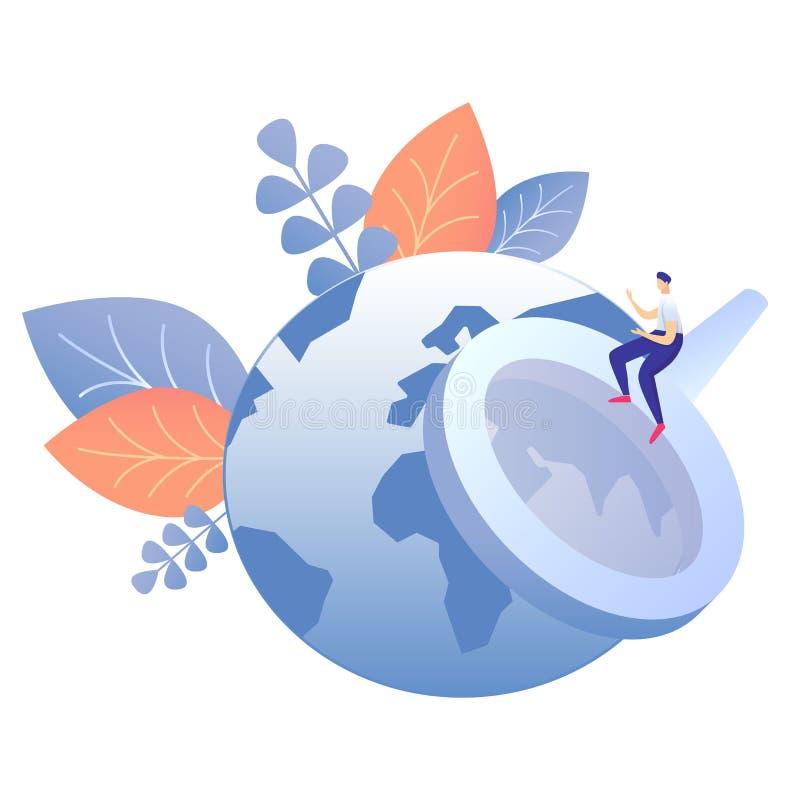 De globale Vlakke Vectorillustratie van het Informatiezoeken stock illustratie