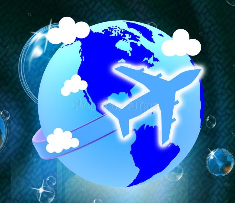 De globale Vluchten toont Reisgids en vliegen royalty-vrije illustratie