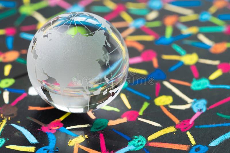 De globalisering, het sociale netwerk of connectiviteitswereldconcept, kleine decoratiebol met China en Azië brengt op kleurrijke royalty-vrije stock afbeelding