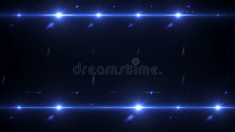 De gloed van de cameraflits, schijnwerpers in de donkere ruimteabstractie, het 3d teruggeven, de achtergrond voor nachtleven en c stock illustratie