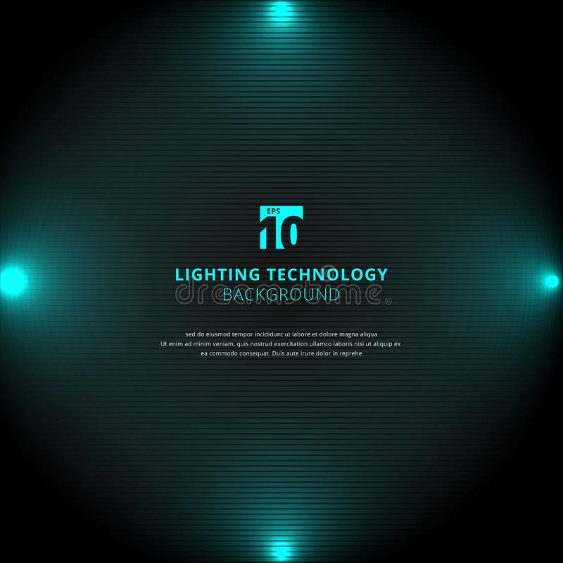 De gloedeffect van de technologie blauw verlichting met schijnwerper op zwarte hor stock illustratie