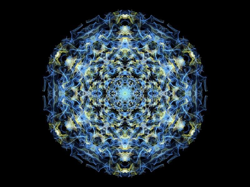 De gloeiende blauwe en gele abstracte bloem van vlammandala, sier bloemen rond patroon op zwarte achtergrond Yogathema royalty-vrije illustratie