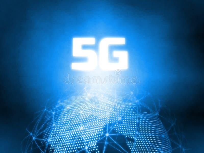 De gloeiende 5G-tekst op 3D het Teruggeven blauwe gestippelde wereld en samenvatting telegrafeerde globale netwerkachtergrond Voo stock foto's