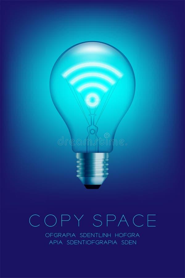 De gloeiende gloeilamp schakelt vastgesteld Wifi-symbool in, verbindt Internet conceptontwerpillustratie royalty-vrije illustratie