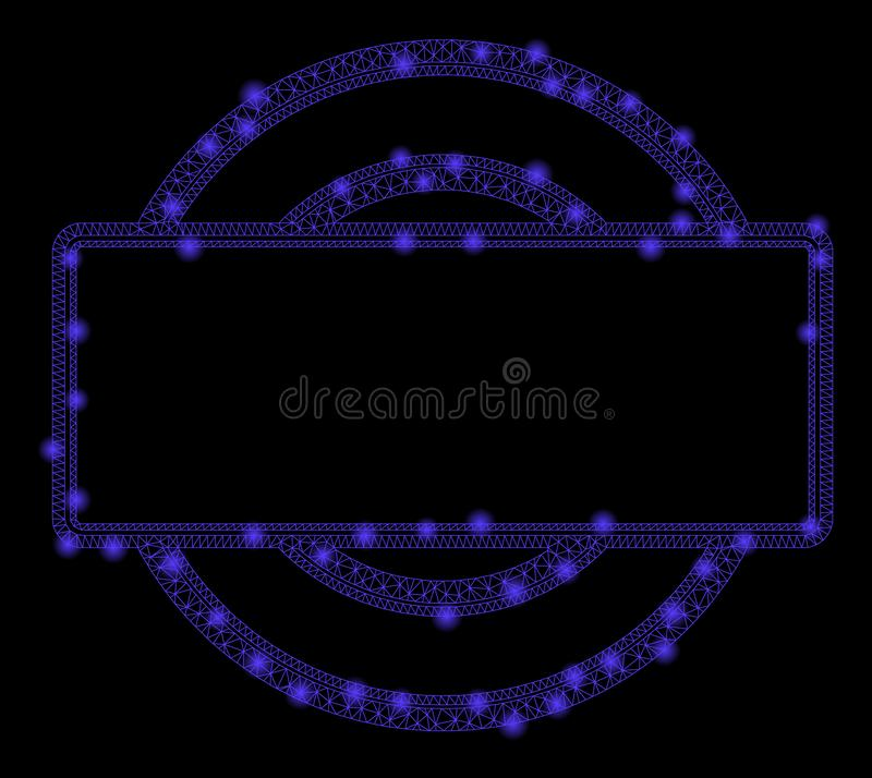 De gloeiende Karkas van het Netwerk tweemaal rond en Rechthoekkader met Lichte Vlekken vector illustratie