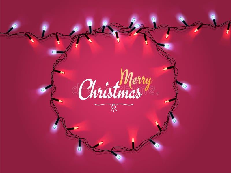 De gloeiende Kroon van Kerstmis realistische Lichten voor het Ontwerp van de Groetkaarten van de Kerstmisvakantie, op rode achter royalty-vrije illustratie