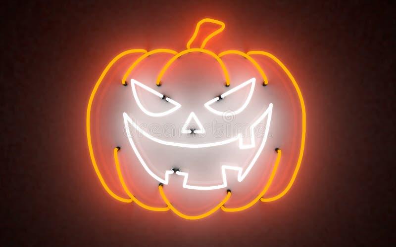 De gloeiende pompoen van neonlichthalloween het 3d teruggeven stock afbeelding