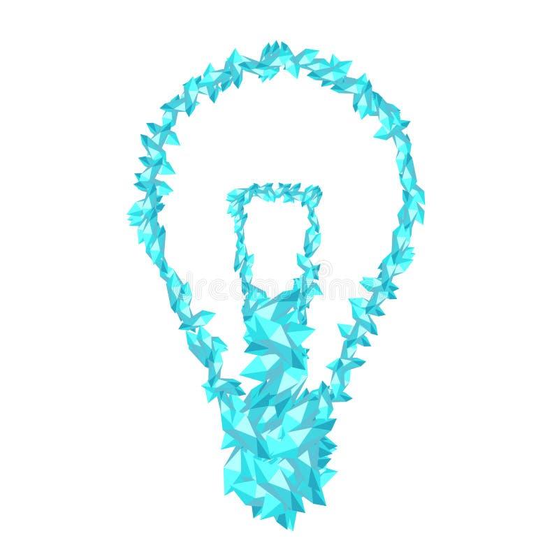 De gloeiende van de het Kristaldiamant van het gloeilampensymbool 3D virtuele vastgestelde illustratie royalty-vrije illustratie