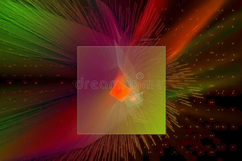 De gloeiende van de de uitbarstingswetenschap van de kosmos futuristische explosie van de de golfstijl van de de plonsmacht van d stock illustratie