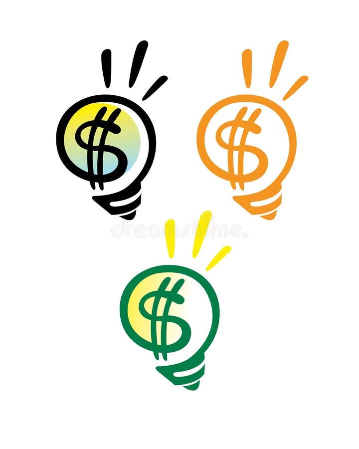 De gloeilamp van de dollar vector illustratie